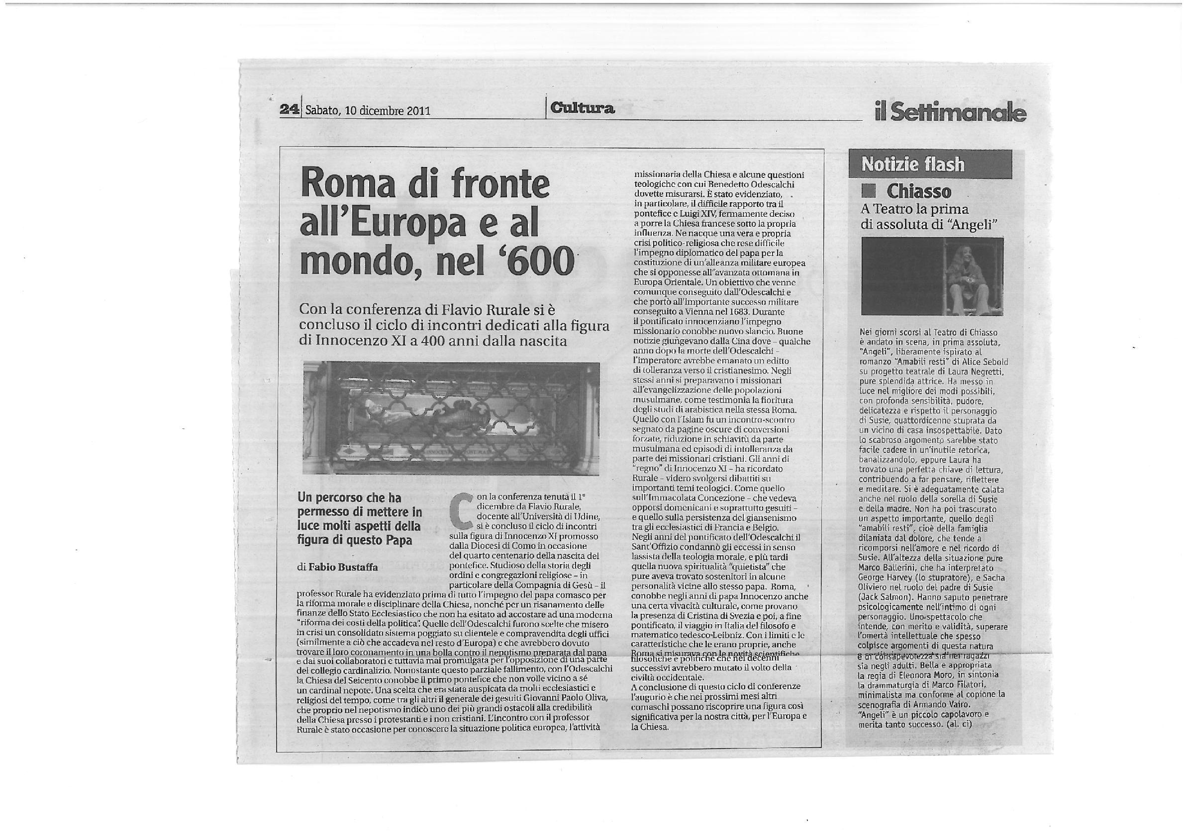 RECENSIONE Il Settimanale 10 Dicembre 2011