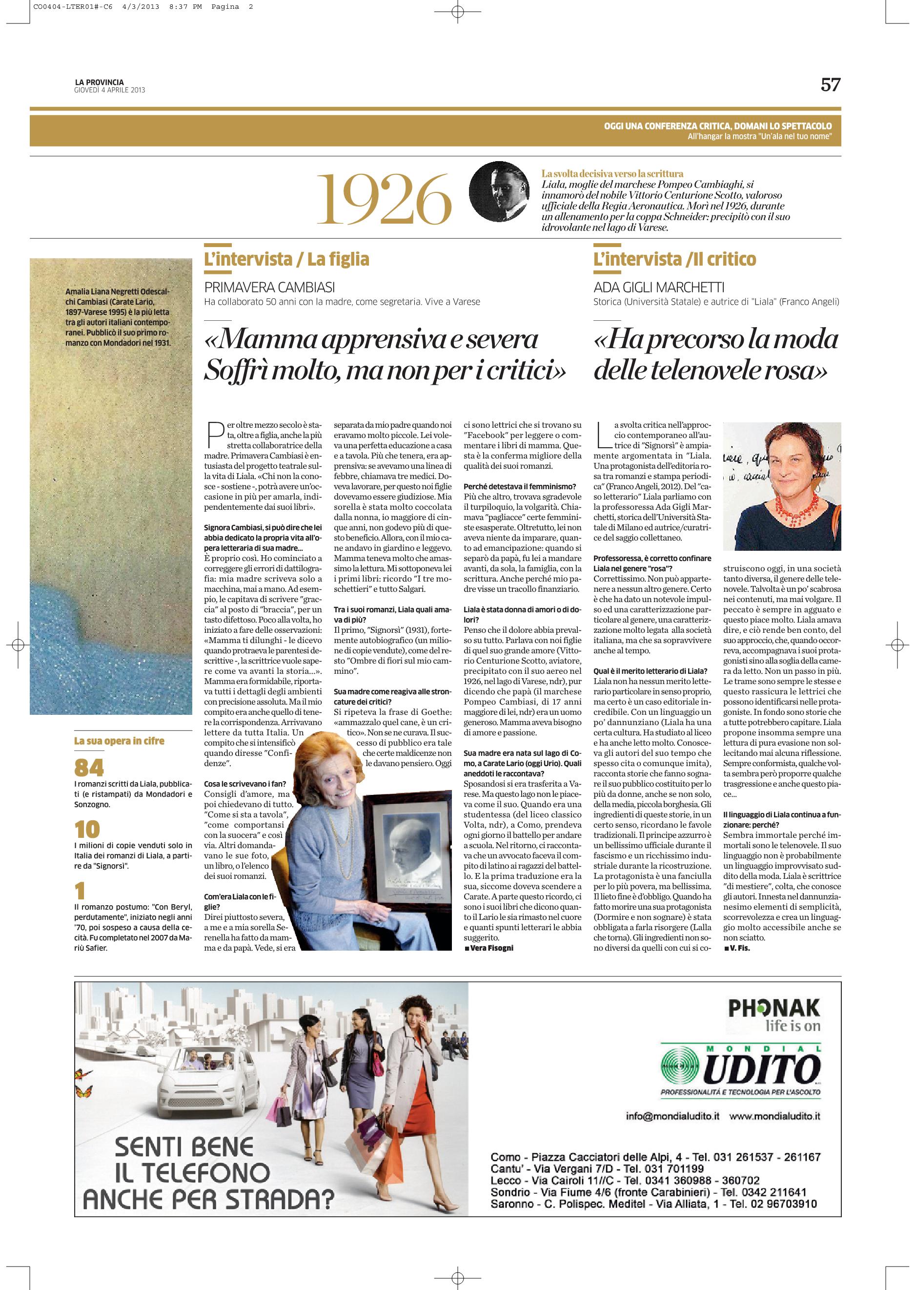 La Provincia di Como pagina doppia 4 aprile 2013