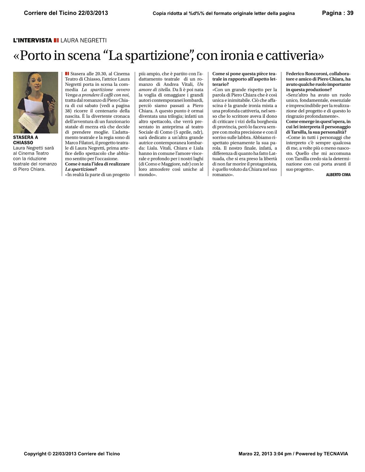 Corriere del Ticino 22 Marzo 2013