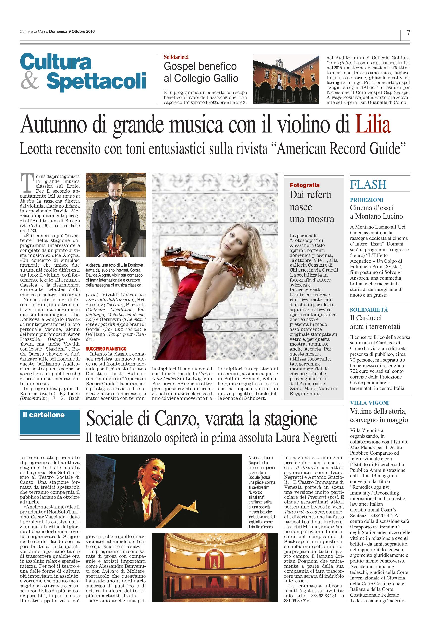 Corriere di Como - 9 Ottobre 2016