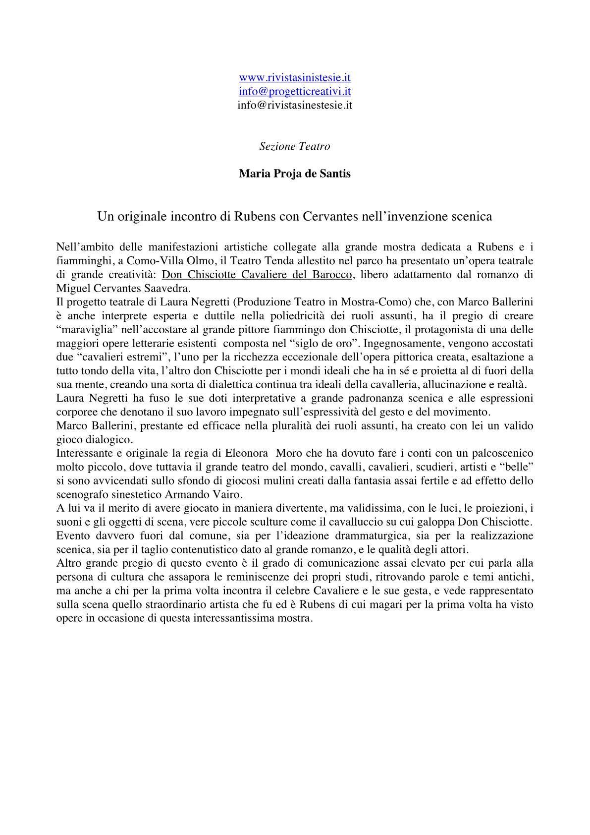 RECENSIONE Rivista Sinestesie Maria de Santis