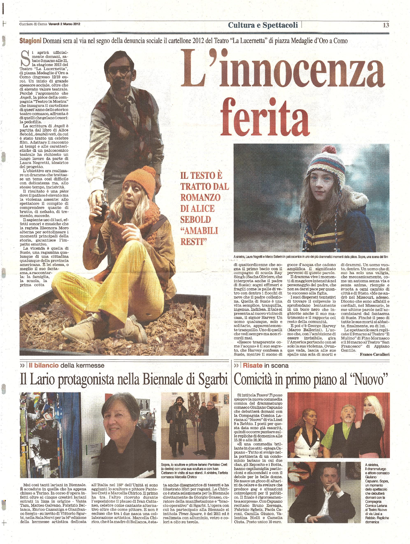 RECENSIONE Corriere di Como 2 Marzo 2012