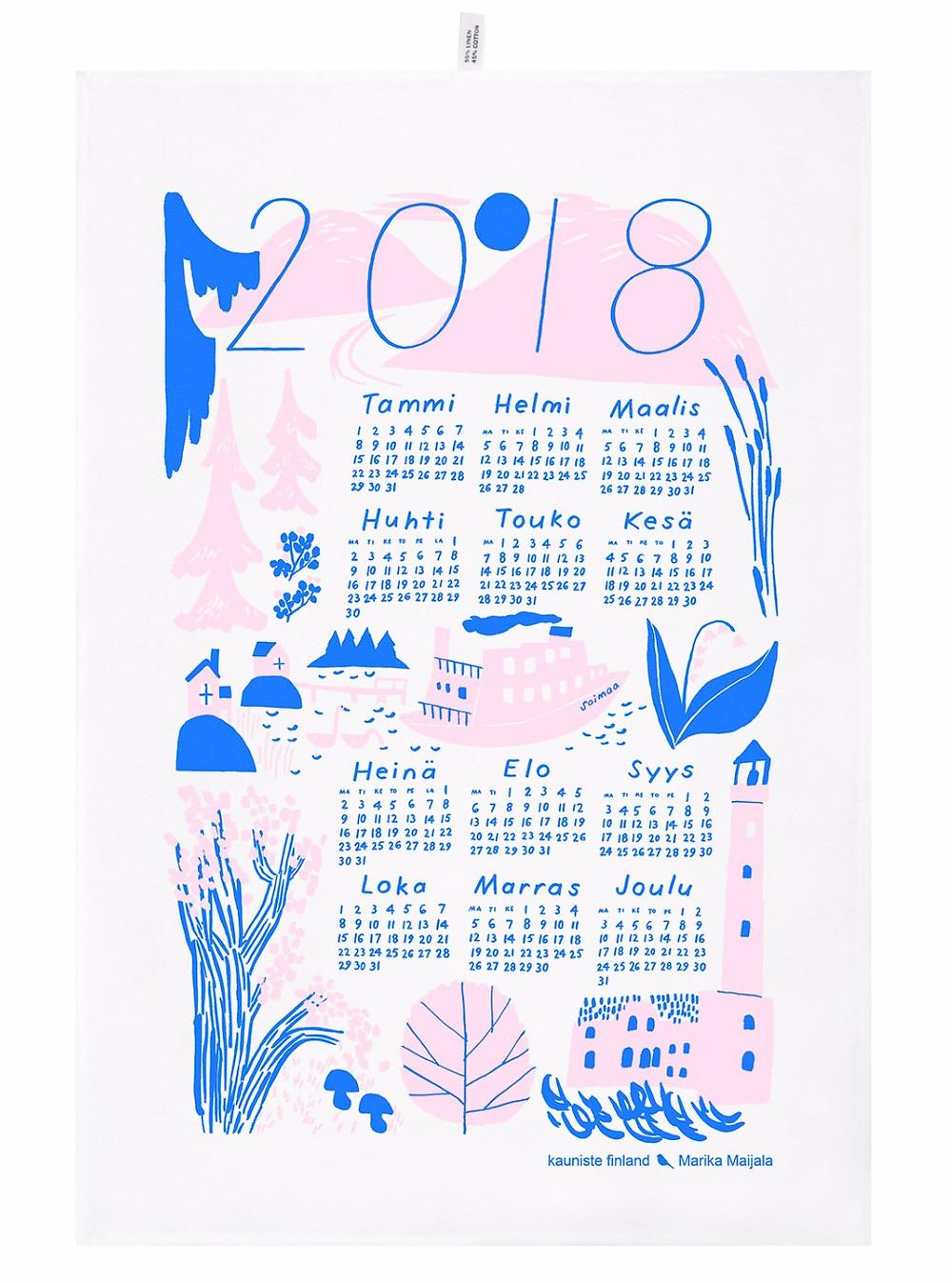 Calendar Kitchen Towel by Kauniste