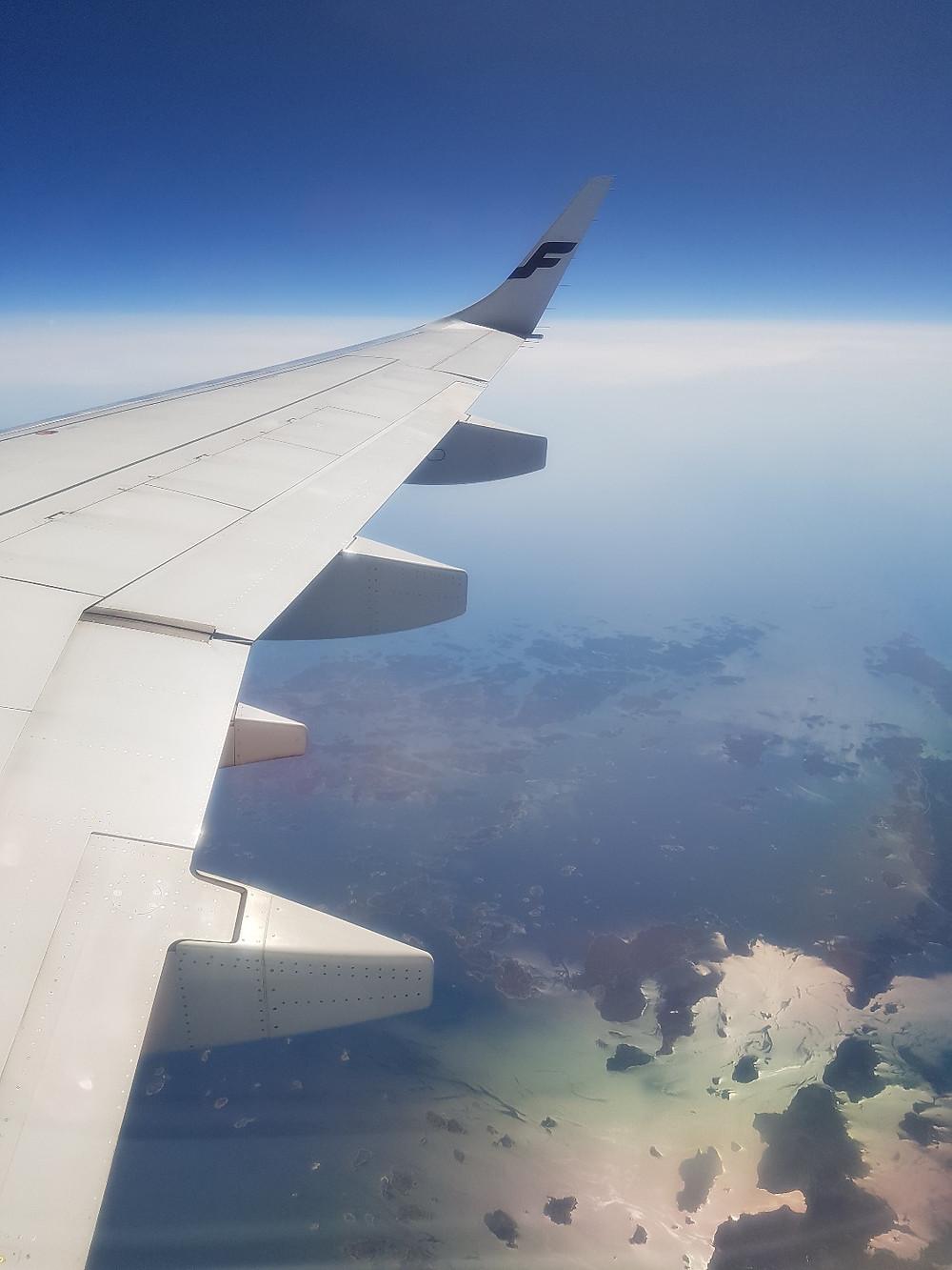 Finnair flight to Helsinki, Finland