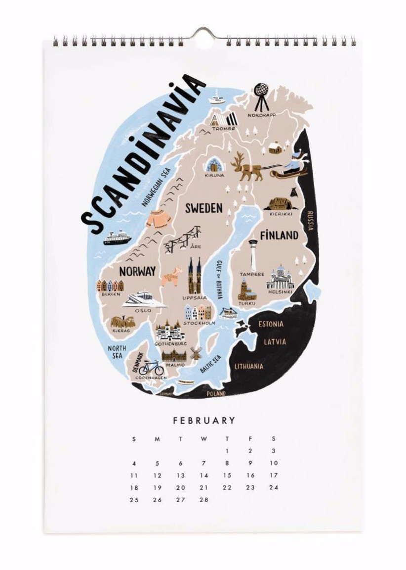Maps of the World Calendar by Rifle Paper Co.