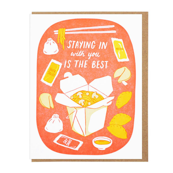 Staying in Takeout Card by Lucky Horse Press