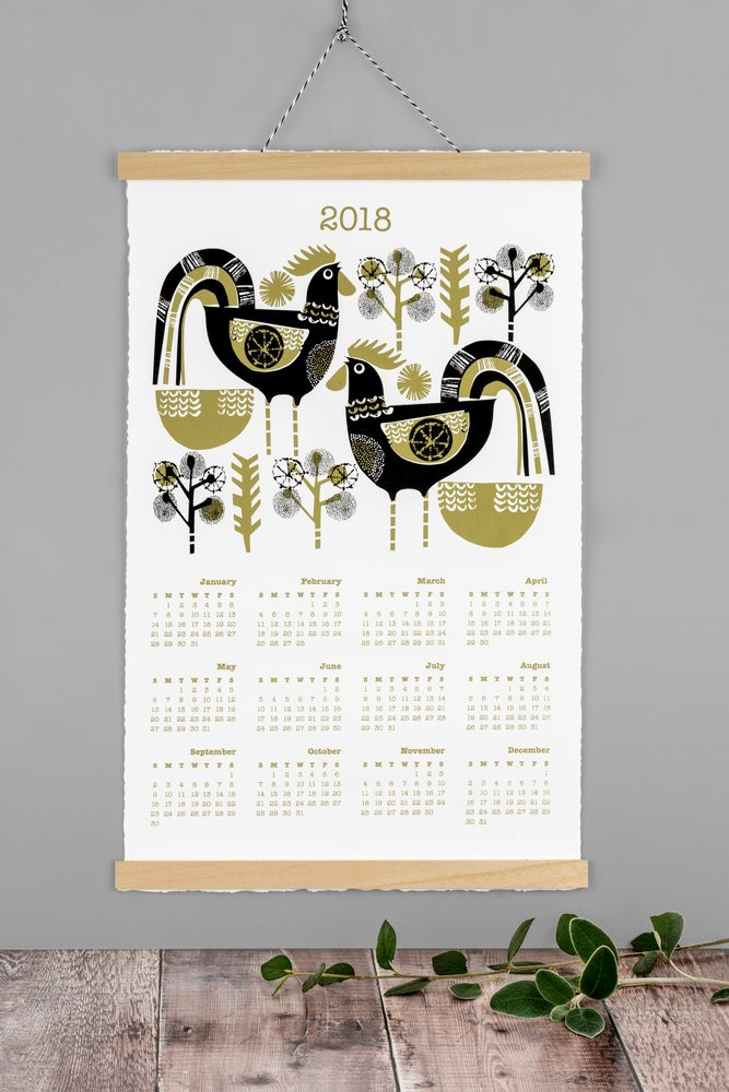 Hand Printed Calendar by Jane Ormes