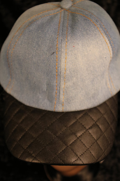Denim with Quilted Black Faux Leather Brim