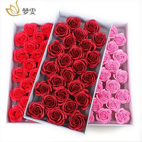 25Pcs/Box Big Size Bath Soap Rose Flower Plant Essential Oil Romantic Wedding