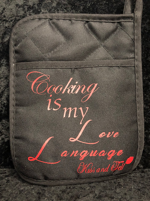 COOKING IS MY LOVE LANGUAGE POT HOLDER/ OVEN MITT