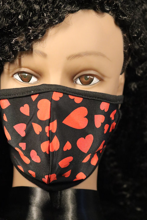 BLACK MASK WITH RED HEARTS FACE MASK