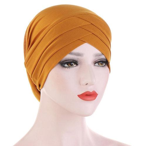 Solid ColorCross Cover Hijab Caps Elastic  Underscarf Head Turban Bonnet