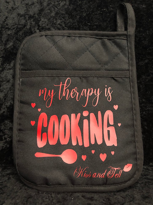 MY THERAPY IS COOKING POT HOLDER/ OVEN MITT