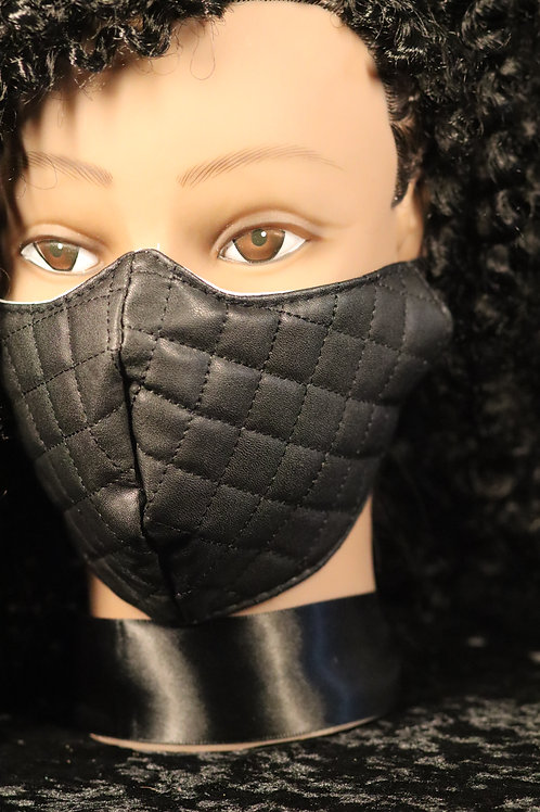 BLACK WHITE DESIGNER INSPIRED QUILTED FAUX LEATHER FACE MASK