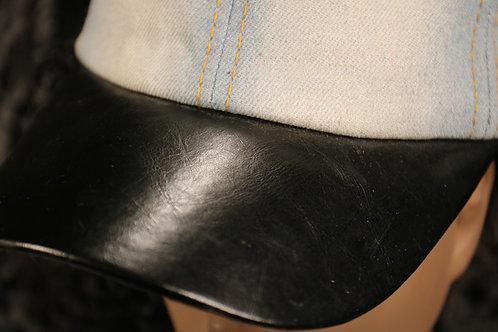Cotton Denim with Black Faux Leather Brim