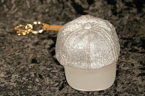 Silver Glitter Cap Keychain Pouch