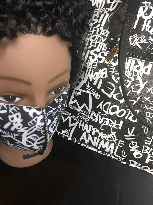 Black and White Graffiti Bag with matching mask