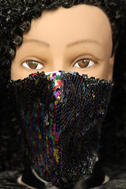 Rainbow sequin Face Mask Hand