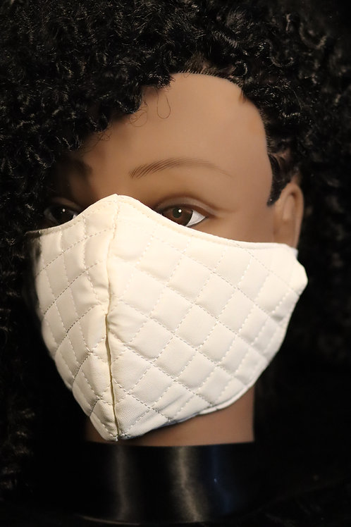 WHITE DESIGNER INSPIRED QUILTED FAUX LEATHER FACE MASK