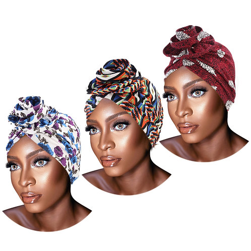 PRE-TIED Women African Turban With Rose Flower Knot Stretch Jersey Solid Colors