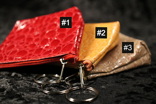 Small Patent Croc Pouch Purse with Keychain- Choose Colors