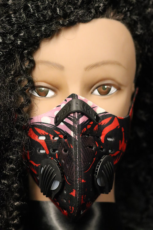 Red & Black FACE MASK with Exhalation valves - Activated Carbon Dust Mask