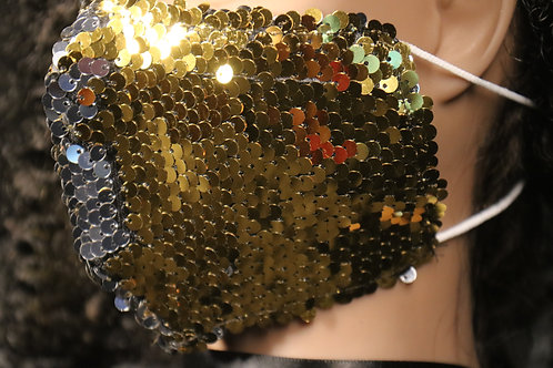 Gold/Silver  Sequin Face Mask -color changing