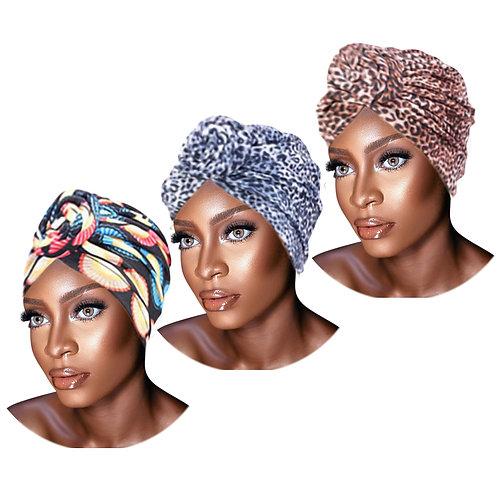 3 Pack Set of PRE-TIED Headwrap Turban W/ Rose Flower Knot Bonnet Stretch Jersey
