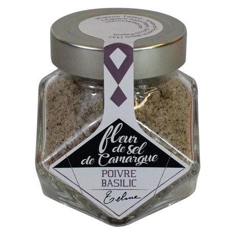 Fleur de sel de Camargue au poivre et basilic