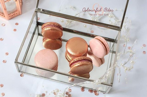Rose gold macarons are very popular at t