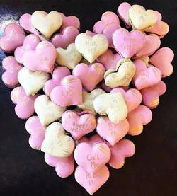 Heart shapped macarons