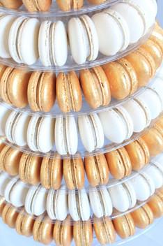 Gold & White macaron tower