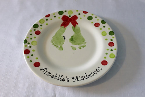 Mistletoes Footprint Christmas Plate