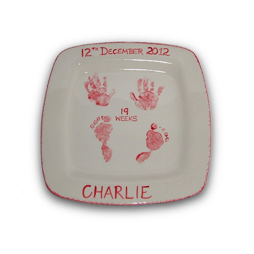 Square Plate: Handprint / Footprint Kit
