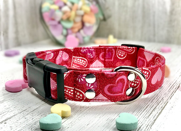 Sparkling Love & Hearts Valentines Day Dog Collar - Red