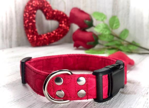 Red Heart Valentines Day Dog Collar