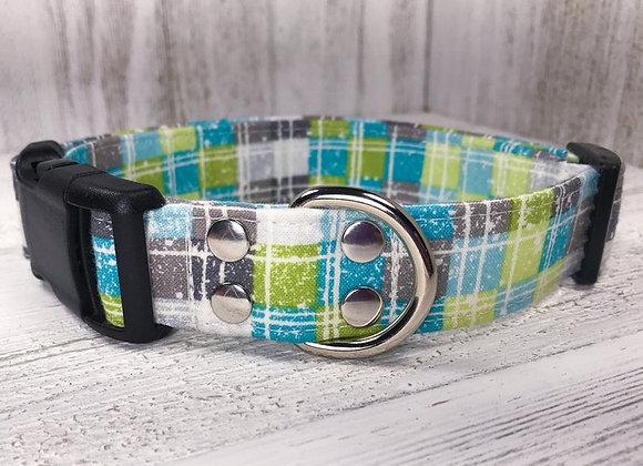Light Blue and Green Plaid Dog Collar