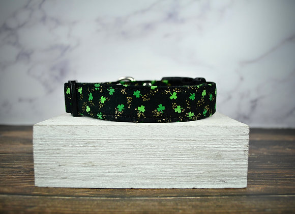 St. Patrick's Day -  Black Collar with Tiny Green Clovers & Golden Flakes