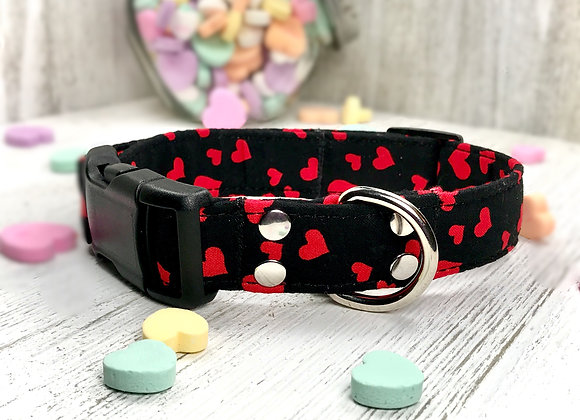 Valentines Day Dog Collar - Black with Tiny Red Hearts