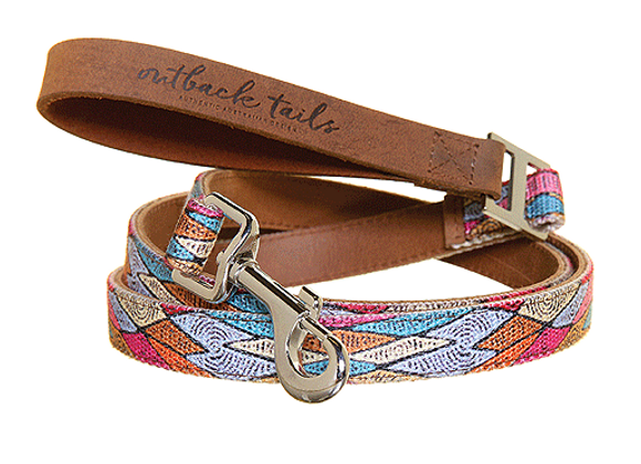 Outback Tails Leather Dog Lead | Sand Dunes
