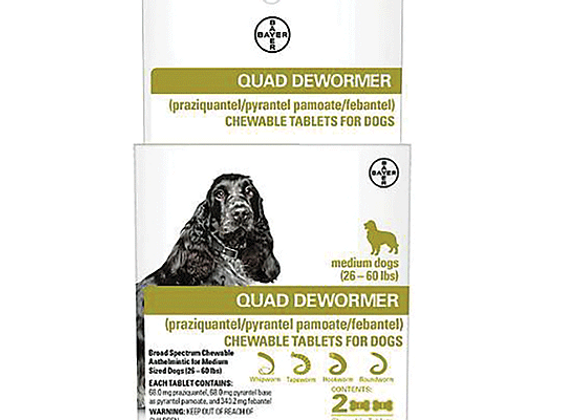 Bayer Quad Dewormer - Medium Dogs (26-60 lbs)