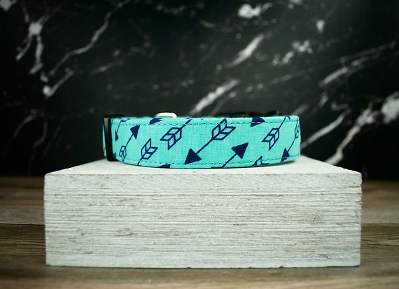 Turquoise Dog Collar with Blue Arrows