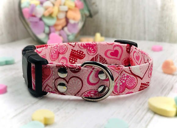 Sparkling Love & Hearts Valentines Day Dog Collar - Pink