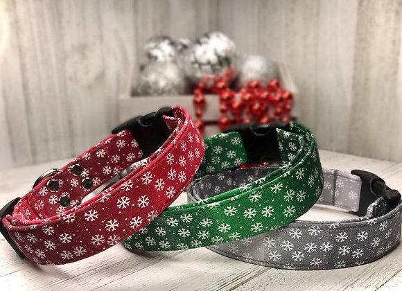 Christmas Sparkling Ombre Snowflake Dog Collar
