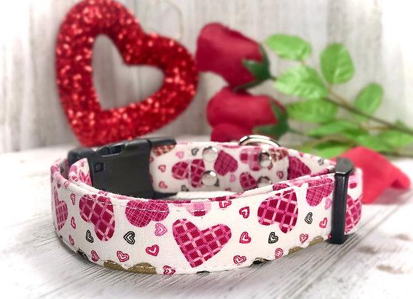 Pink & White Checkered Hearts Valentines Day Dog Collar