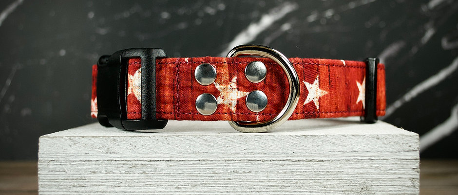 Weathered American Flag Themed Dog Collar - Red with White Stars