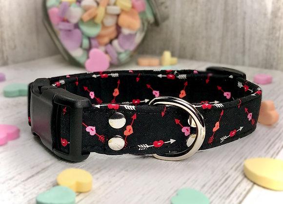Cupid's Arrow Black Valentines Day Dog Collar