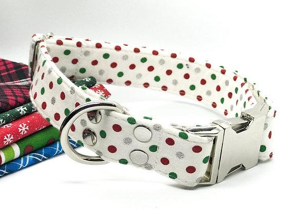 Christmas Theme Polka Dot Fabric Dog Collar