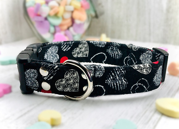 Valentines Day Dog Collar - Black with Red & White Hearts
