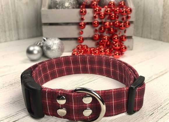 Christmas Red Checker Fabric Dog Collar